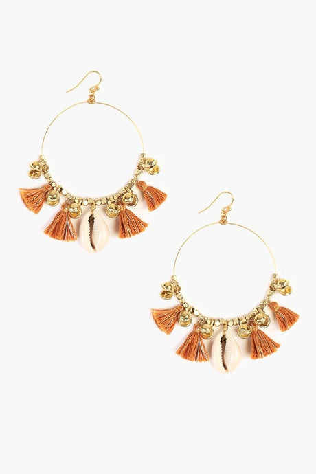 Mustard Cowry Shell Hoop Earrings