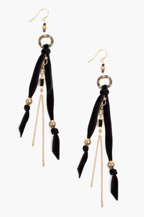 Black Ribbon Earrings With Crystals