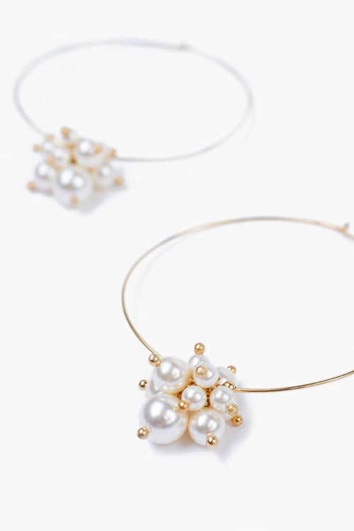 Gold Toned Cream Pearl Hoop Earrings