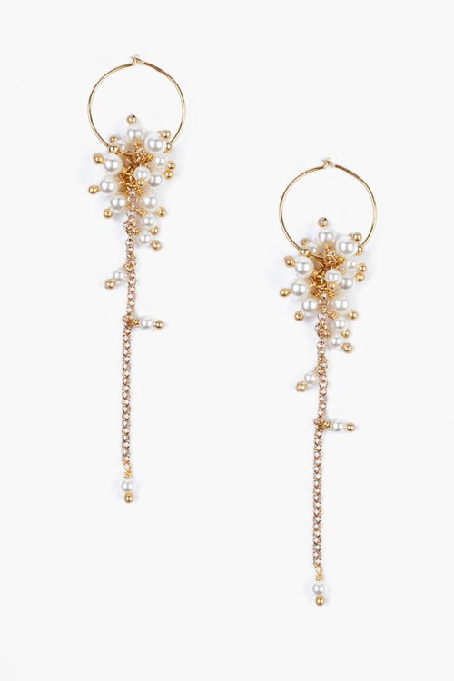 Gold Toned Cream Pearl Cluster Hoop Earrings