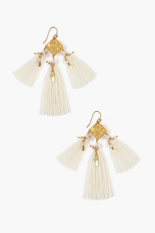 White Mix Tassel Earrings