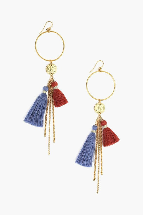 Blue Mix Tassel Hoop Earrings