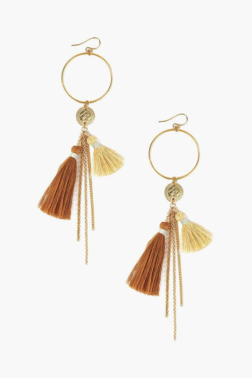 Mustard Mix Tassel Hoop Earrings