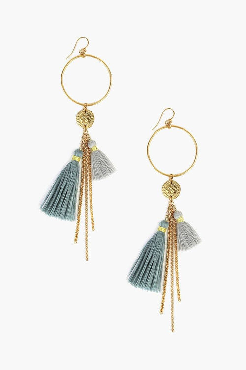 Smoke Blue Mix Tassel Hoop Earrings