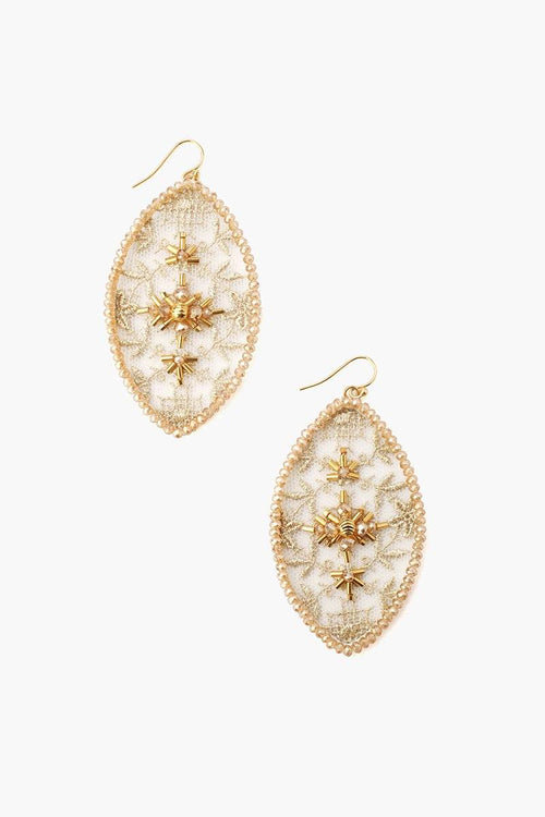 Gold Mix Lace and Crystal Earrings