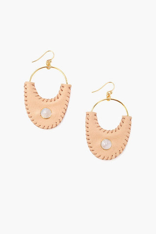 Beige Mix Leather Earrings