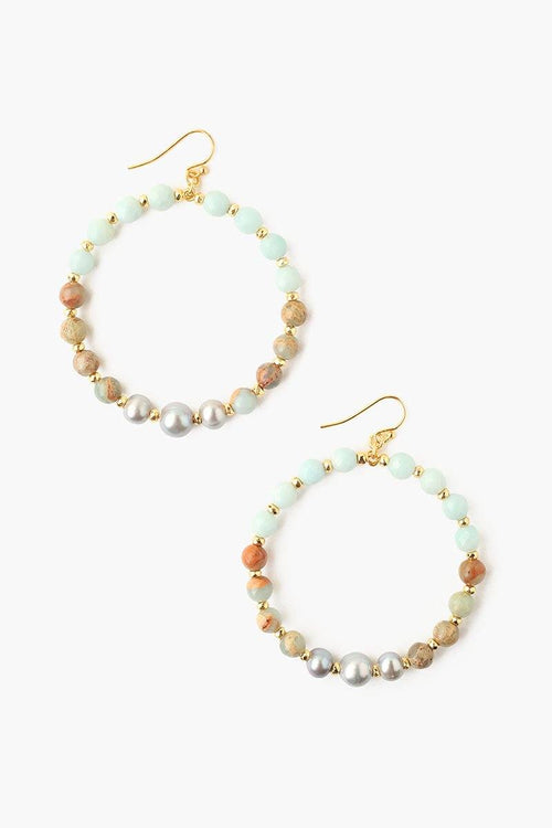 Amazonite Mix and Grey Pearl Hoop Earrings