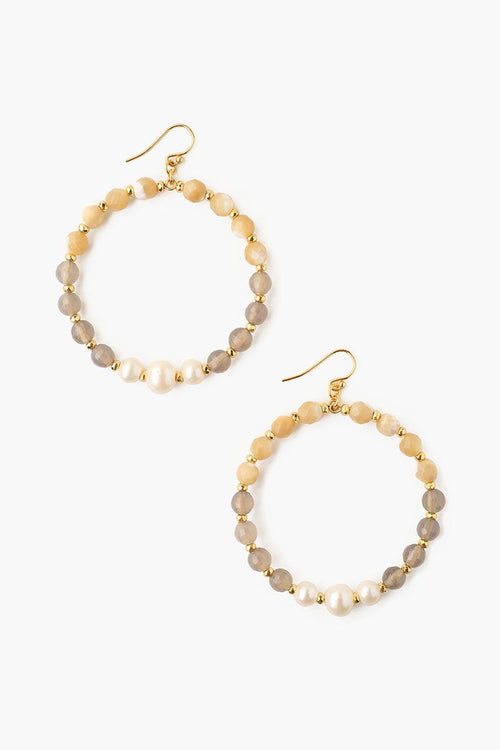 Grey Onyx Mix and White Pearl Hoop Earrings