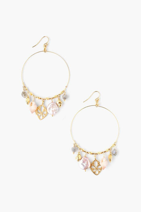 Pink Mix Sea Charm Hoop Earrings
