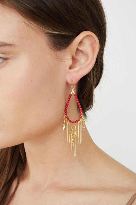 Red Coral Pearl Paloma Teardrop Earrings