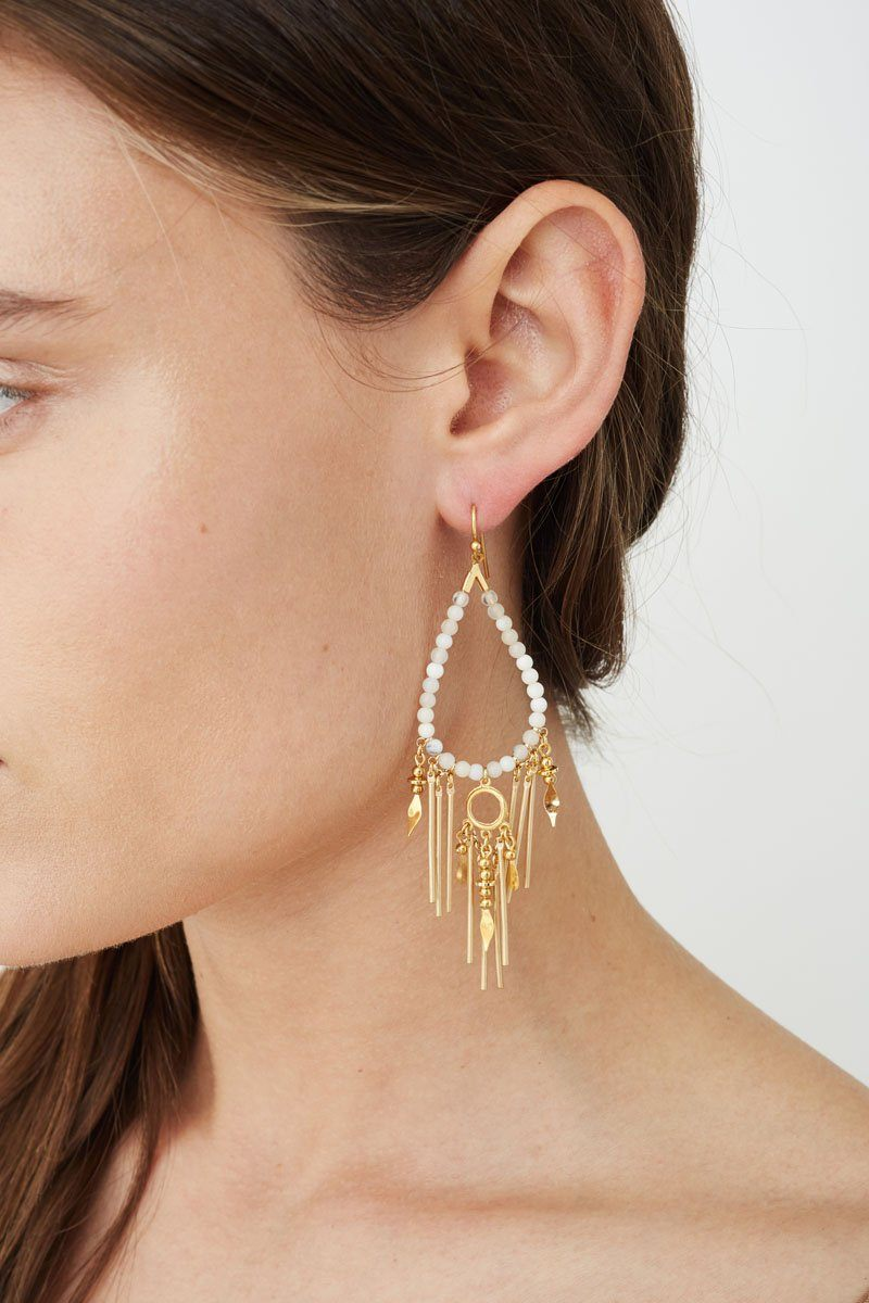 White Opal Paloma Teardrop Earrings