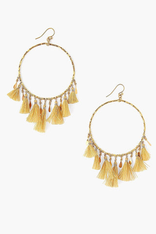 Gold Mix Tassel Hoop Earrings
