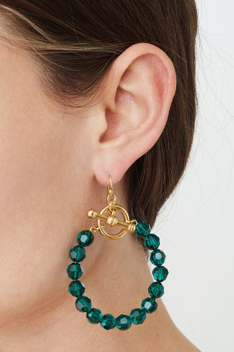 Emerald Crystal Hoop Earrings