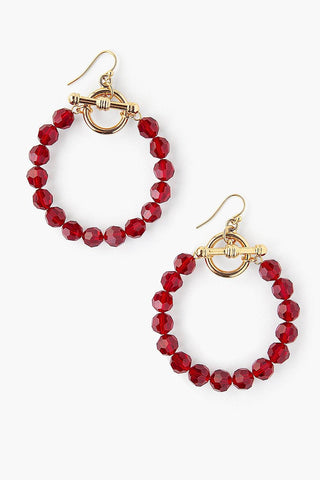 Siam Crystal Hoop Earrings