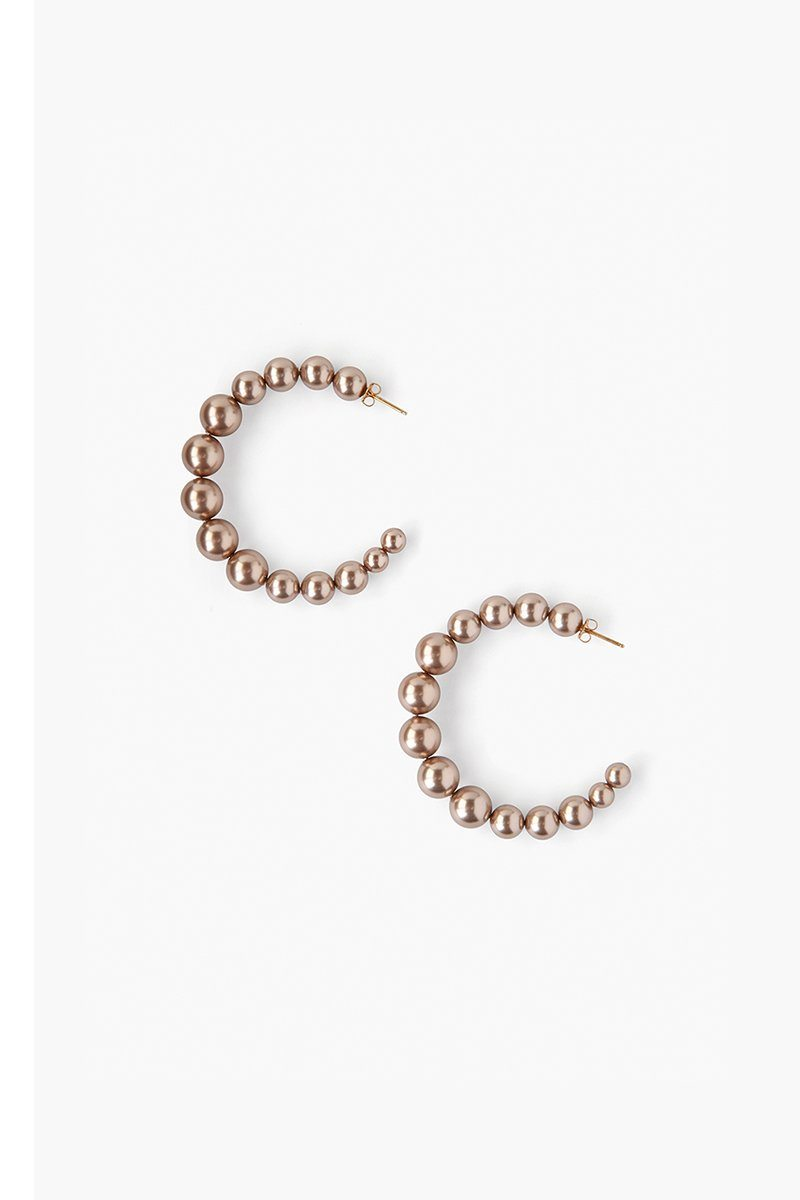 Standard Bronze Pearl Holly Hoop Earrings