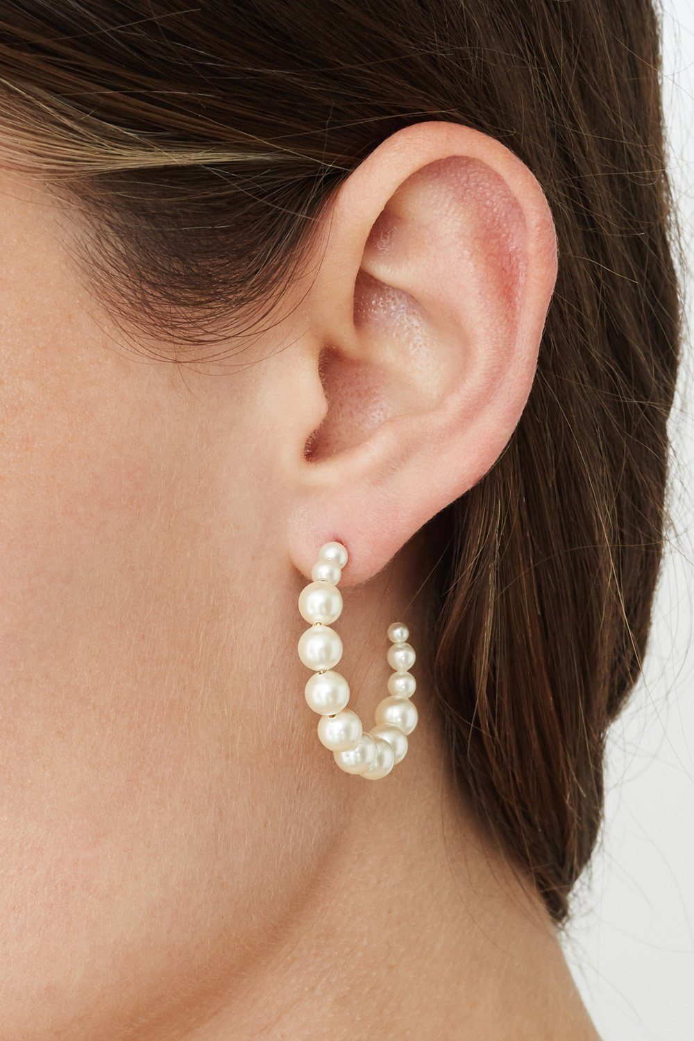 Standard Cream Pearl Holly Hoop Earrings