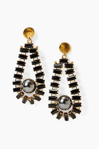 Black Crystal and Pearl Teardrop Earrings