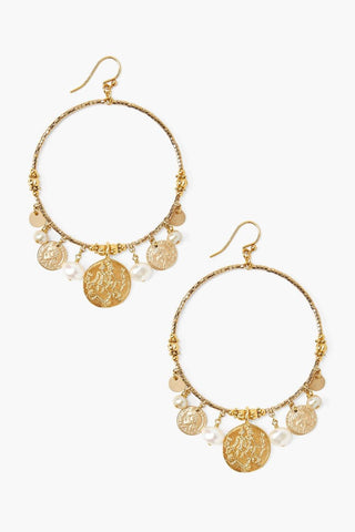 White Pearl Mix and Gold Coin Hoop Earrings