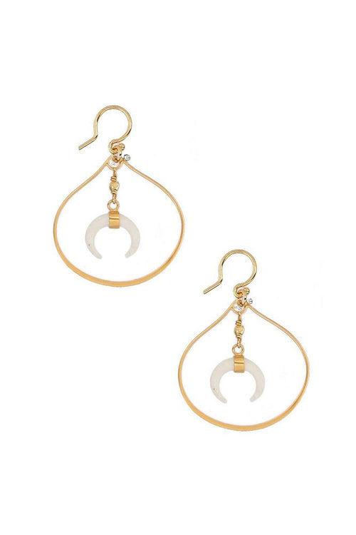 White Bone Horn and Gold Teardrop Hoop Earrings