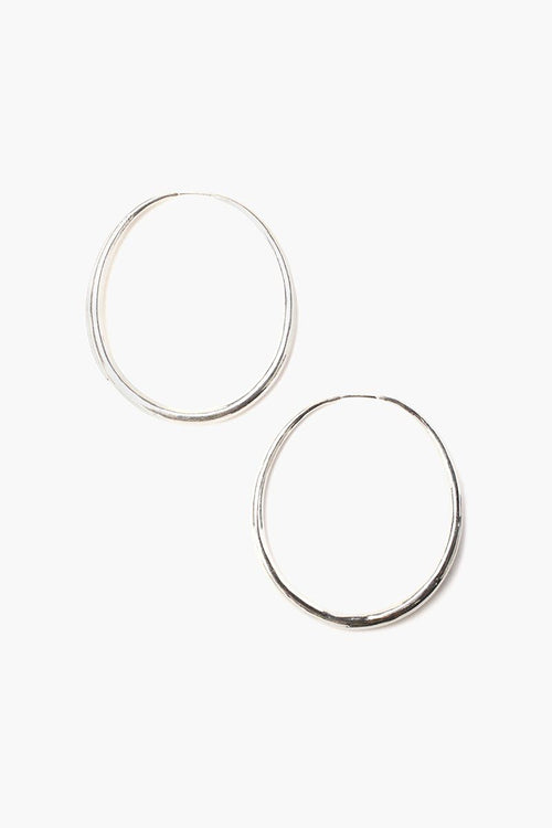 Silver Grande Oblong Hoop Earrings