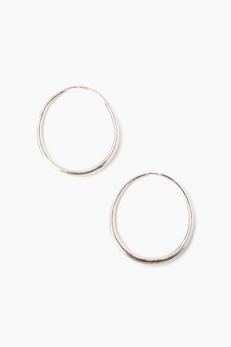 Silver Standard Oblong Hoop Earrings