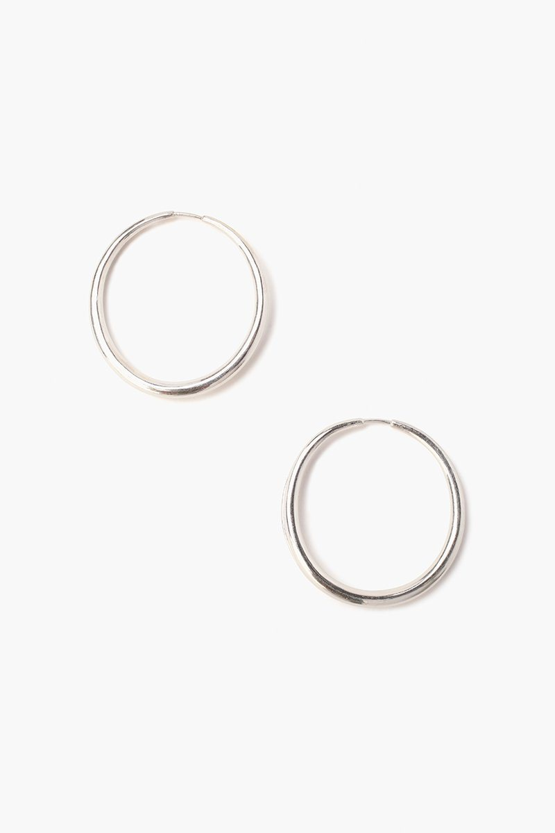 Silver Petite Oblong Hoop Earrings