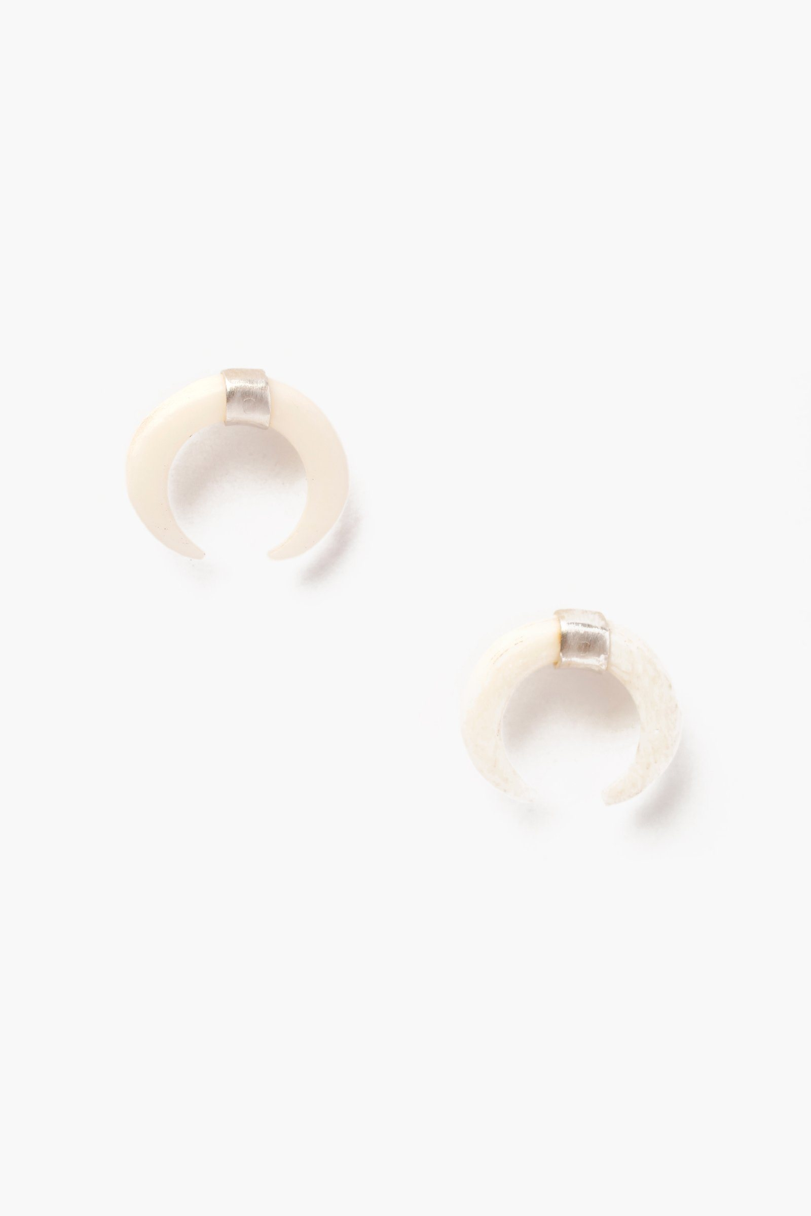 White Bone Horn Silver Stud Earrings