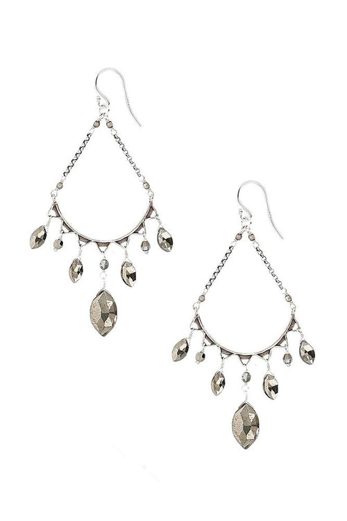 Pyrite Teardrop Hoops