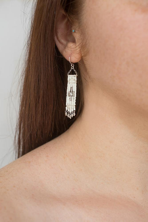 Cream Bead Dangle Earrings