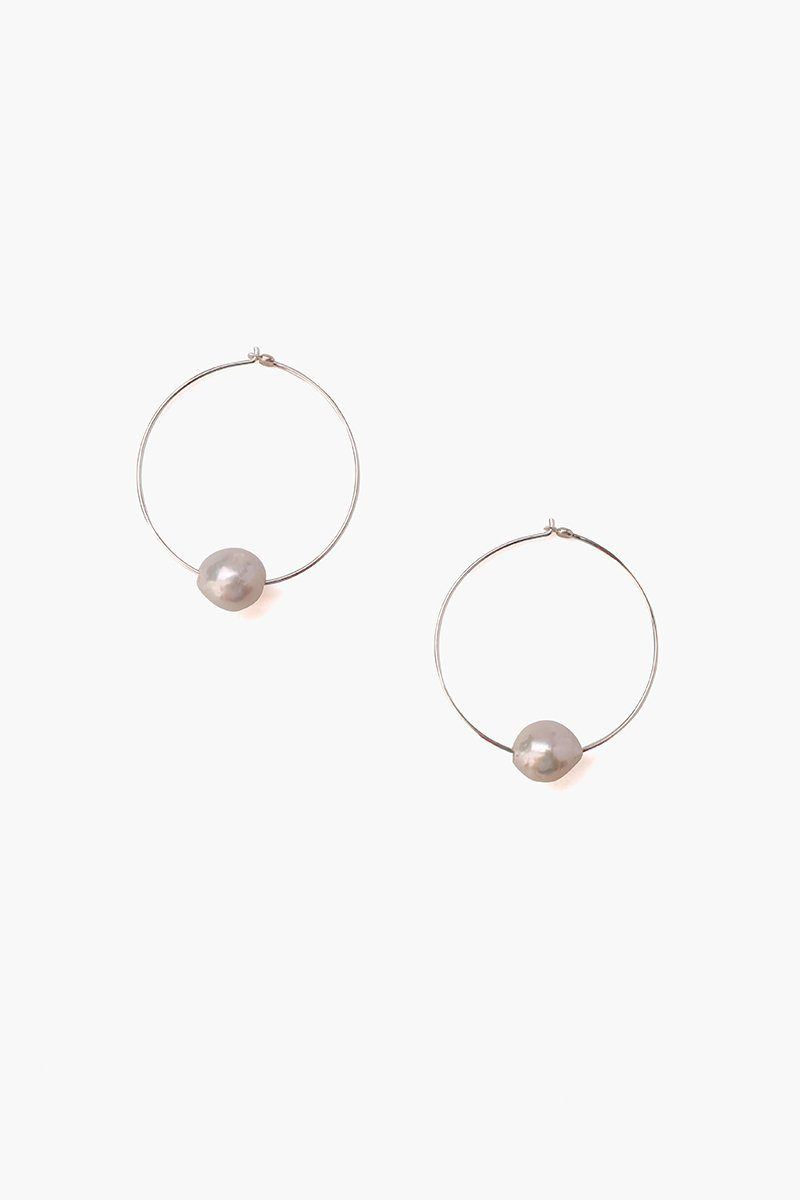 Grey Floating Pearl Silver Hoop Earrings