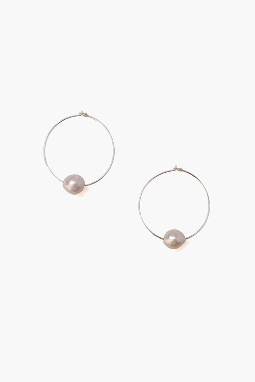Grey Floating Pearl Silver Hoops
