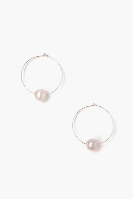 White Floating Pearl Hoop Earrings