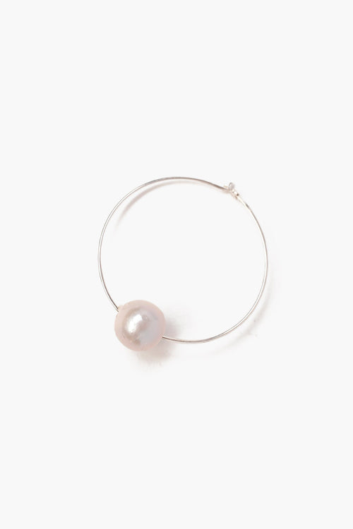 White Floating Pearl Hoops