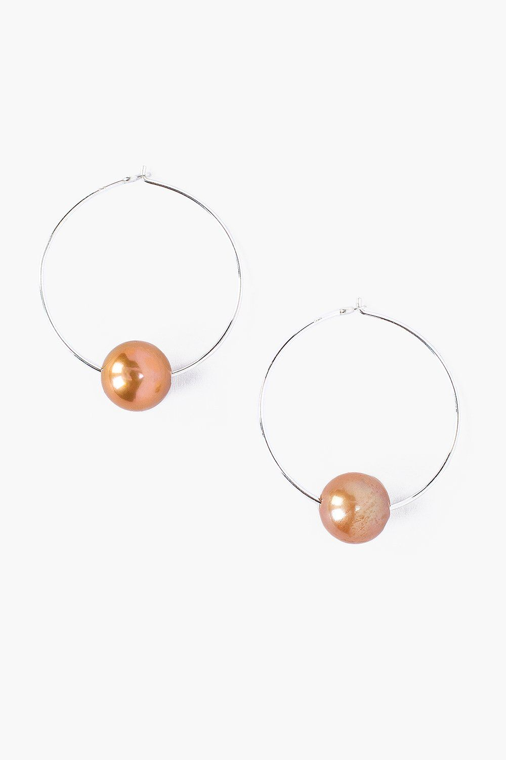 Champagne Pearl and Silver Hoop Earrings