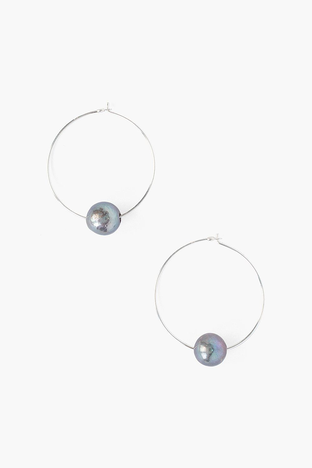 Peacock Blue Pearl and Silver Hoop Earrings