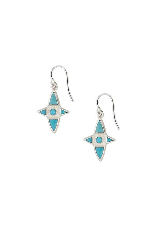Turquoise Stone Cross Earrings