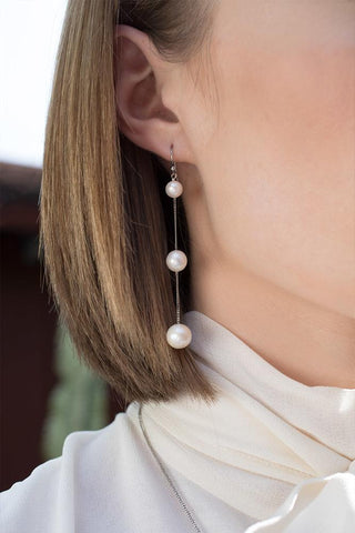 Tiered Floating White Pearl Earrings