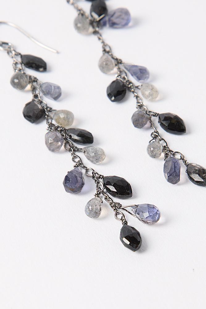 Iolite Mix Dangle Marquise Earrings