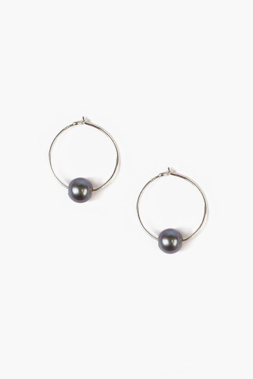 Peacock Blue Pearl Hoop Earrings