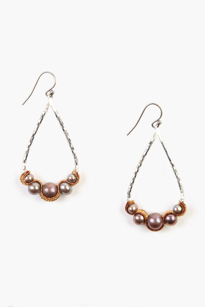Dark Champagne Pearl Teardrop Earrings