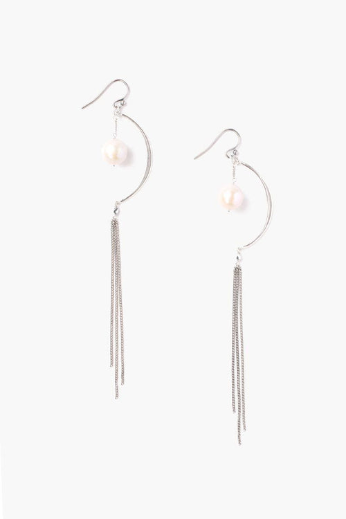 White Pearl Crescent Chain Earrings