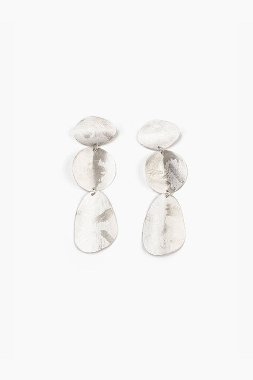 Silver Three Tiered Coin Earrings