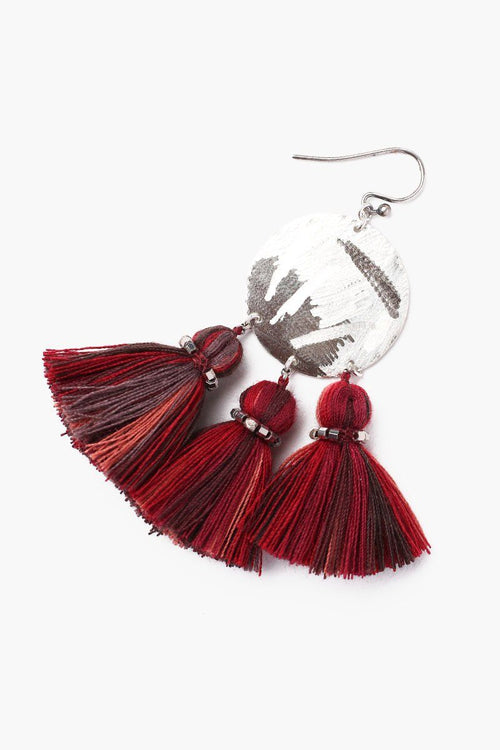Red Mix Tassel Earrings