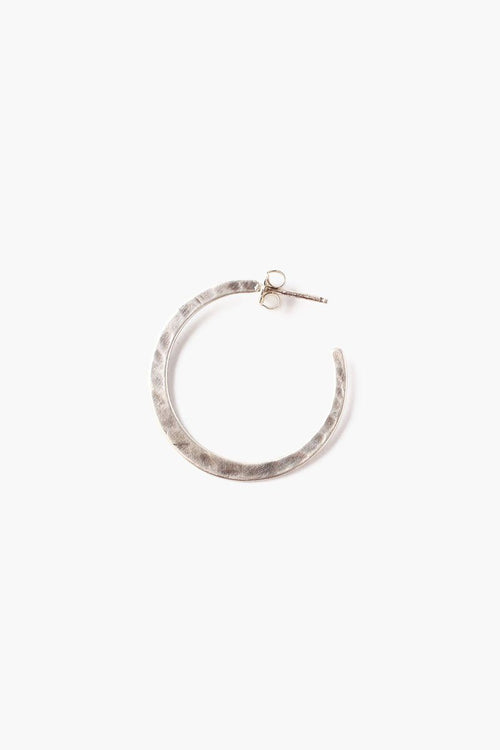 Silver Petite Hammered Hoop Earrings