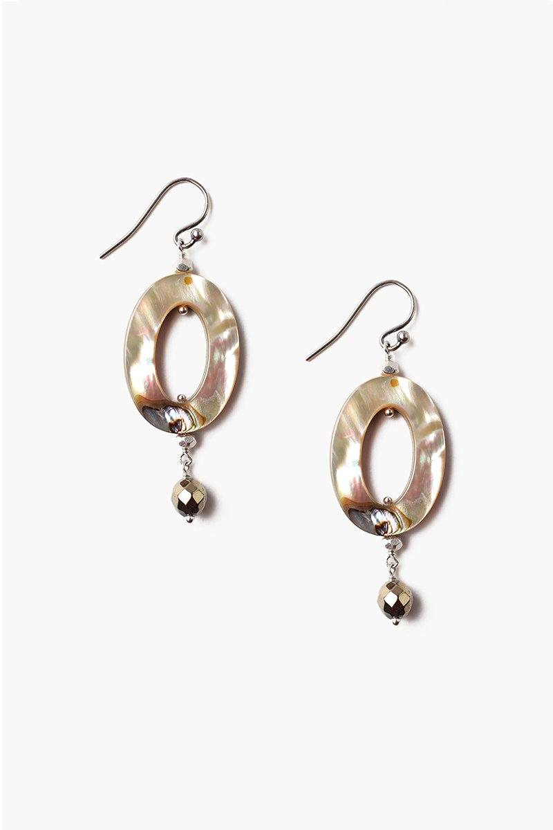 Abalone Mix Oval Ring Earrings