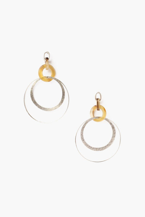 White Horn Orbital Hoop Earrings