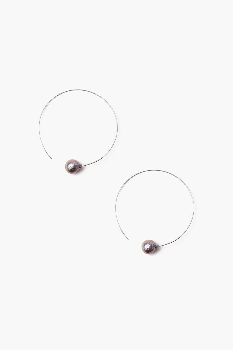 Peacock Blue Pearl Halo Hoop Earrings