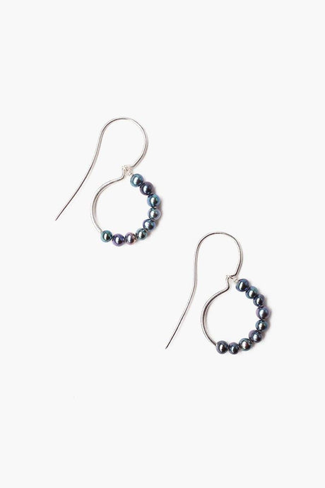 Peacock Blue Pearl Drop Earrings