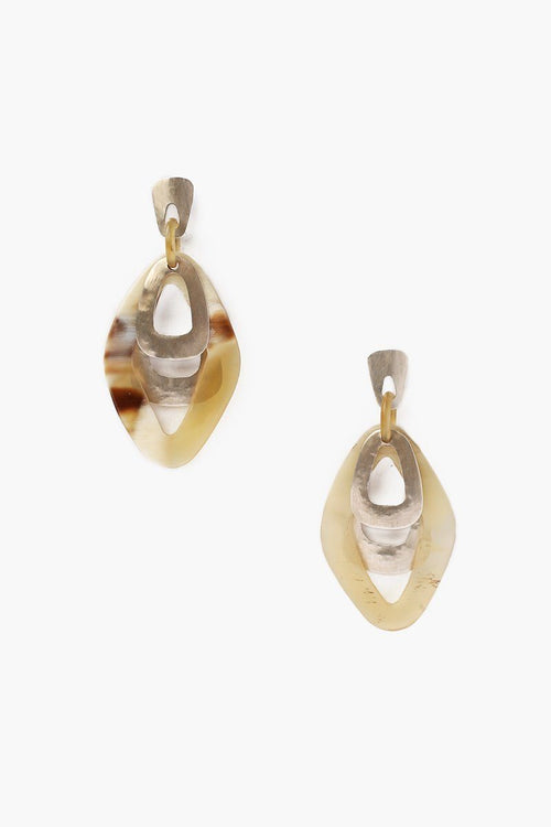 White Horn Cut Out Earrings