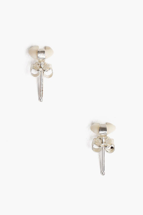 White Bone Micro Horn Earrings
